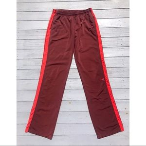 Puma burgundy side stripe silky athletic pants M